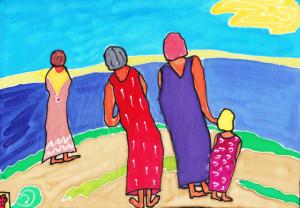 Kvinner ved elva