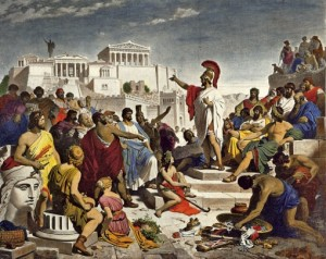 Perikles taler foran Akropolis
